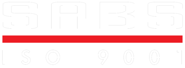 SABS 9001 Logo white text on clear background