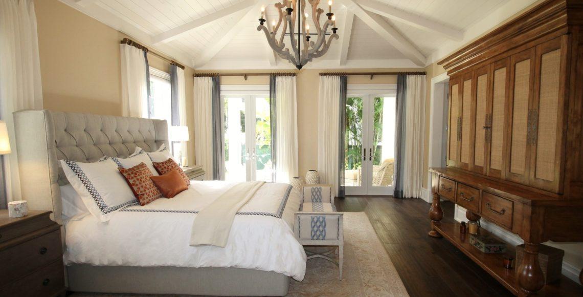 French doors in bedroom